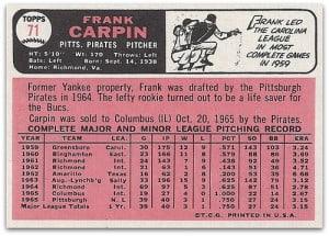 1966 Topps Frank Carpin reverse