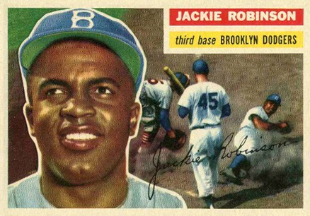 Stealing home on a '56 Topps card