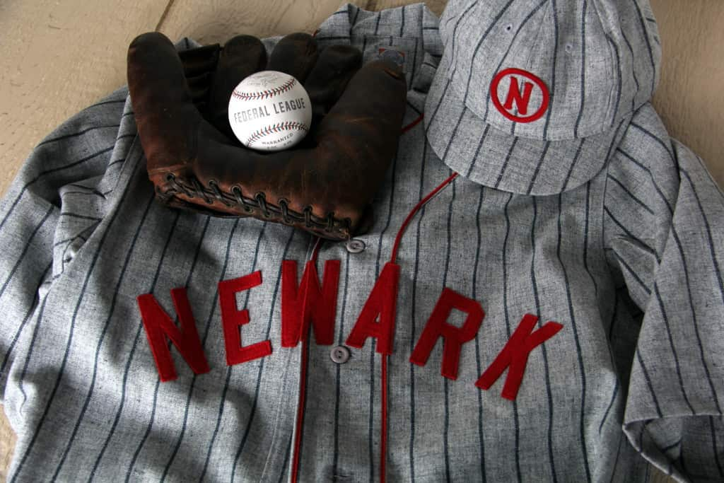 1915 Newark Peppers road jersey and cap reproductions from Ebbets Field Flannels. Federal League baseball reproduction by Huntington Base Ball Co. Glove was an antique store find.
