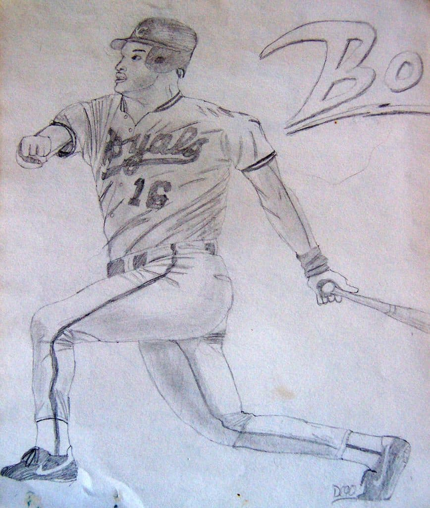 A drawing of Bo Jackson I did as a kid in 1990.